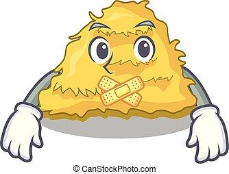 Silent hay bale mascot cartoon vector illustration