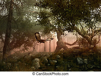 Silent Hunter - a eagle owl flies through the forest