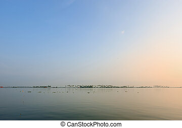 Silent lagoon in the morning in India