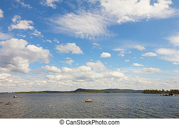 Silent lake - Beautiful landscape with silent lake and...