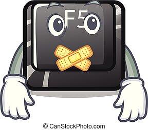 Silent longest F5 button on cartoon keyboard vector illustration