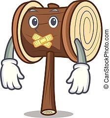 Silent mallet mascot cartoon style