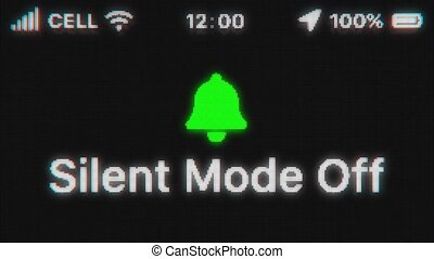 Silent Mode Off appear on old display. Pixeled text animation with phone hud. Green bell icon. 4k 60 fps.