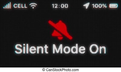Silent Mode On appear on old display. Pixeled text animation with phone hud. Red stroked bell icon. 4k 60 fps.