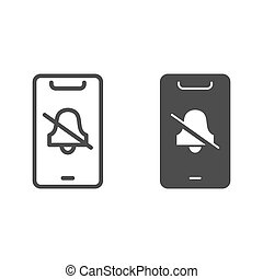 Silent mode on smartphone line and solid icon, smartphone review concept, no bell on mobile sign on white background, turn off phone ringer icon in outline style for mobile concept. Vector graphics