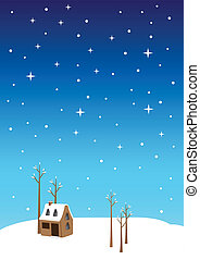 Silent Night Christmas Eve Vector Illustration