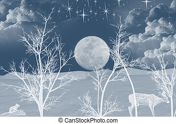 Silent Night - Full moon rising over snowy landscape.