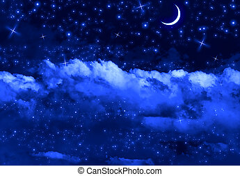 Silent Night Sky - Silent blue night sky with moon, stars...
