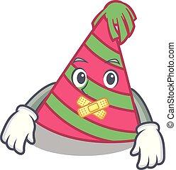 Silent party hat mascot cartoon vector illustration
