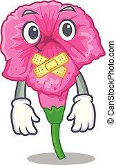 Silent petunia in a mascot flower basket