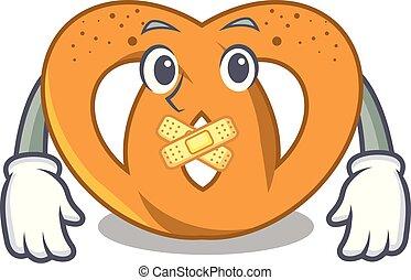 Silent pretzel mascot cartoon style