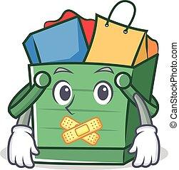 Silent shopping basket character cartoon