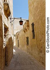 Silent Street of Mdina - The empty silent narrow street of...