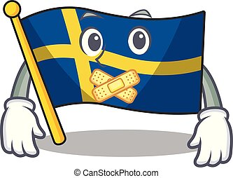 Silent swede flags flutter on character pole vector ...