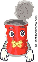 Silent tincan ribbed metal character a canned vector...