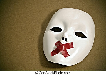silent white mask - white mask with red tape strips forming...