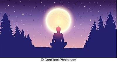 silenzio, natura, persona, luna, solitario, luce, godere