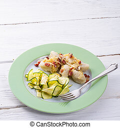 silesian, dumplings, toucinho, abobrinha