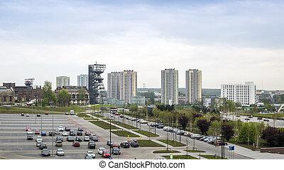 silesian, residencial, polônia, predios, alto, katowice,...