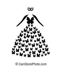 Silhoette black butterflies