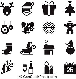 Silhoette Christmas icons set