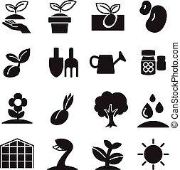 silhoette, pousse, icônes, ensemble
