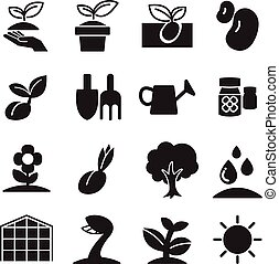 Silhoette Sprout icons  set