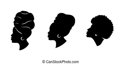 Silhoettes of african american women in a head wrap and with...