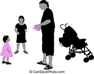 silhoettes of children