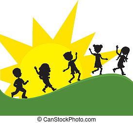 silhoeuttes, crianças, com, ponha ao sol experiência