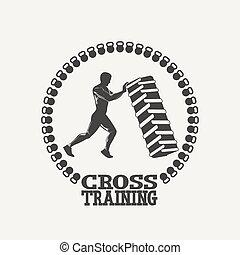 silhouet, 人, 交差訓練, ロゴ