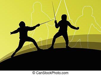 silhouet, escrime, hommes, jeune, combattants, épée, actif,...