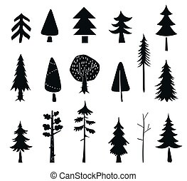 silhouet, nero, inverno, icons., forest., pini, fondo., bianco, albero, isolato, set