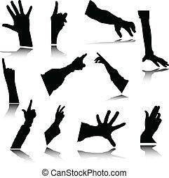 silhouetes, vetorial, mão