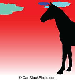 silhouett, cavalo, vetorial, ilustração