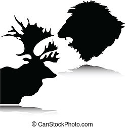 silhouett, fej, vektor, őz, oroszlán