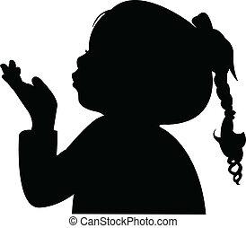silhouett, głowa, podmuchowy, poza, dziecko