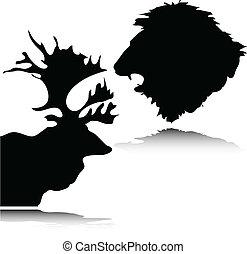 silhouett, głowa, wektor, jeleń, lew