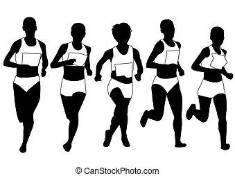 silhouett, grupa, biegacze, maraton