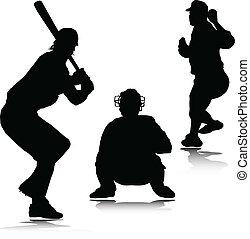 silhouett, honkbal, vector, sportende, man