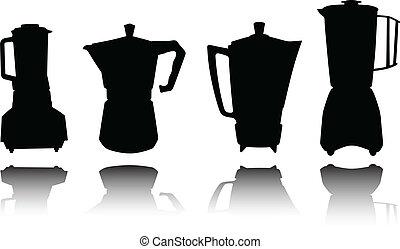 silhouett, instrument, wektor, coffe, kuchnia