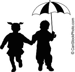 silhouett, mały, dzieciaki, parasol
