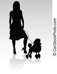 silhouett, meisje, vector, poedel