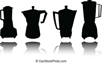 silhouett, outillage, vecteur, coffe, cuisine
