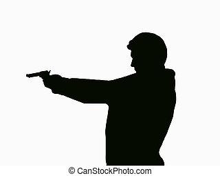 silhouett, pistoleer