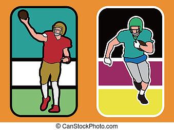 silhouett, spieler, amerikanische , fußball
