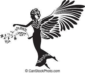 silhouett, stencil, virág, angyal
