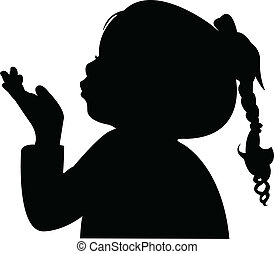silhouett, tête, souffler, dehors, enfant