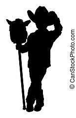 silhouette, à, attachant voie accès, de, peu, cow-boy