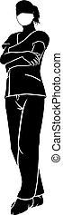 silhouette, ärztin, oder, chirurg